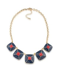 1St And Gorgeous Enamel Pyramid Pendant Statement Necklace In Blue Red Gold