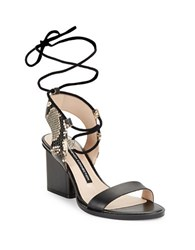 French Connection Jalena Embossed Leather Lace Up Sandals Black White