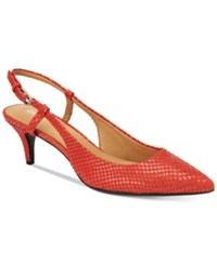 Calvin Klein Patsi Slingback Pumps Women's Shoes Lipstick Red Snake