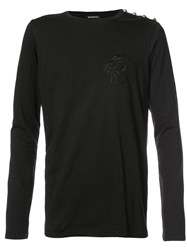 Balmain Fitted Knitted Top Men Cotton S Black