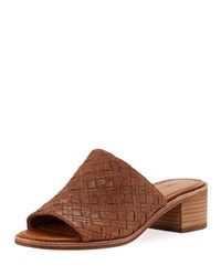 Frye Cindy Woven Leather Mule Sandals Brown