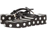 Kate Spade Rhett Black Shiny Rubber White Stripe Women's Shoes
