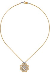 Buccellati Rombi 18 Karat Yellow And White Gold Diamond Necklace One Size