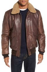 Schott Nyc Men's Cowhide Bomber Jacket With Genuine Shearling Collar