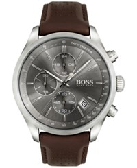 Boss Hugo Men's Chronograph Grand Prix Brown Leather Strap Watch 44Mm 1513476