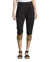 Donna Karan Pleated Front Two Tone Capri Pants Black Paper Bag