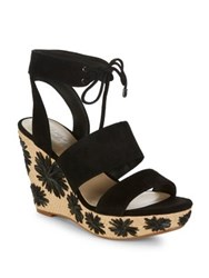 424 Fifth Sage Suede Platform Wedge Sandals Black