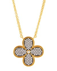 Freida Rothman Double Strand Pave Crystal Clover Pendant Necklace No Color