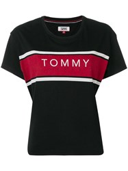 Tommy Jeans Cropped Logo T Shirt Black