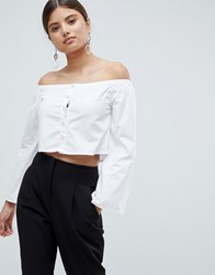 Missguided Pearl Detail Shirt White
