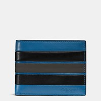 Coach Modern Varsity Stripe Slim Billfold Wallet In Smooth Leather Denim Graphite