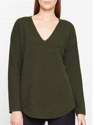 Jigsaw Wool Cashmere Blend Dropped Hem Jumper Khaki