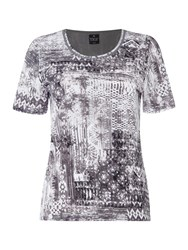 Tigi Short Sleeve Crew Neck Print Top White