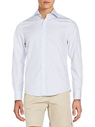 Gant Fitted Pinstripe Cotton Sportshirt Bianco