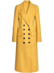 Burberry Double Breasted Cashmere Tailored Coat Yellow And Orange