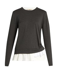 Muveil Ruffled Hem Crew Neck Sweater Grey