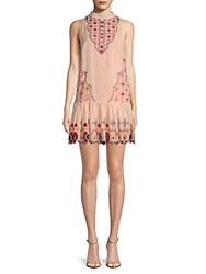 Kas Renate Embroidered Drop Waist Shift Dress Off White