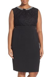 Plus Size Women's London Times Embellished Neck Lace Bodice Sheath Dress