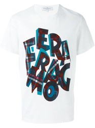 Salvatore Ferragamo Checked Logo Print T Shirt White