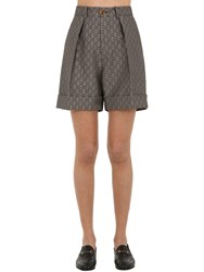 Gucci Gg Supreme Cotton And Wool Blend Shorts Beige Brown