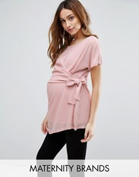 Mama Licious Mamalicious Short Sleeve Woven Top With Knot Detail Pink