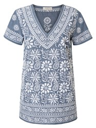 East Embroidered Dna Top Blue