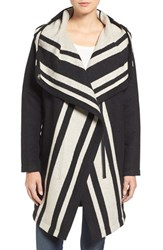 Vince Camuto Women's Stripe Wrap Hooded Coat