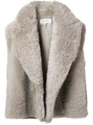 Helmut Lang Shearling Vest Nude And Neutrals