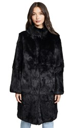 Adrienne Landau Rabbit Coat Black