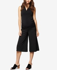 A Pea In The Pod Maternity Wide Leg Cropped Pants Blk Wht Pinstripe