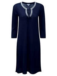 Pure Collection Linen Jersey Tie Neck Dress Navy