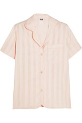 Bodas Shadow Stripe Cotton Gauze Pajama Top Blush