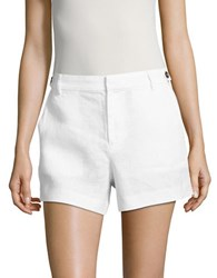 Lord And Taylor High Rise Linen Shorts White