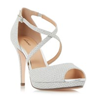 Linea Marly Cross Strap Platform Sandals Silver Metallic