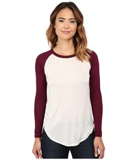 Chaser Contrast Baseball Tee Oyster Cabernet Women's T Shirt White
