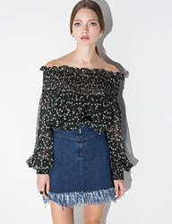 Pixie Market Green Floral Chiffon Off The Shoulder Top