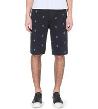 Barbour Embroidered Beetle Cotton Twill Shorts Navy