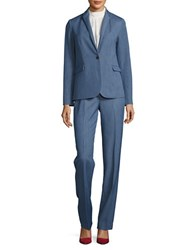 T Tahari Leah Chambray One Button Jacket Light Blue