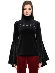 Facetasm Embroidered Velvet Turtleneck Top