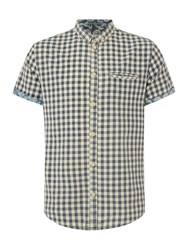 Blend Of America Check Classic Fit Short Sleeve Button Down Shirt Blue