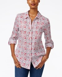 Charter Club Linen Printed Shirt Only At Macy's New Red Amore Combo