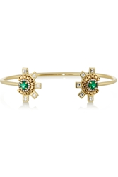 Jemma Wynne 18 Karat Gold Diamond And Emerald Cuff