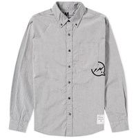 Denim By Vanquish And Fragment Button Down Broadcloth Shirt Black