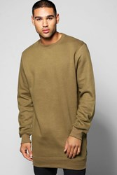 Boohoo Sweater With Side Zips Olive