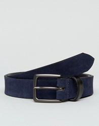 Peter Werth Navy Suede Belt With Contrast Keeper Tan
