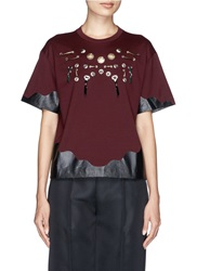 Toga Archives Brass Embellishment Wavy Trim T Shirt Red