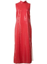 Loewe High Neck Sequinned Dress Red