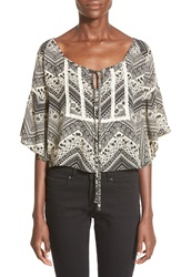 See You Monday Print Circle Peasant Top Black Ivory Print