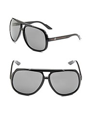 Gucci 63Mm Striped Sunglasses Shiny Black