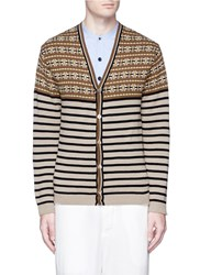 Camoshita Fair Isle Stripe Cotton Cardigan Multi Colour